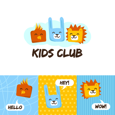 Kids club logo with animals. Cute kindergarten  and language school  sign.Parrot, rabbit and lion logo.