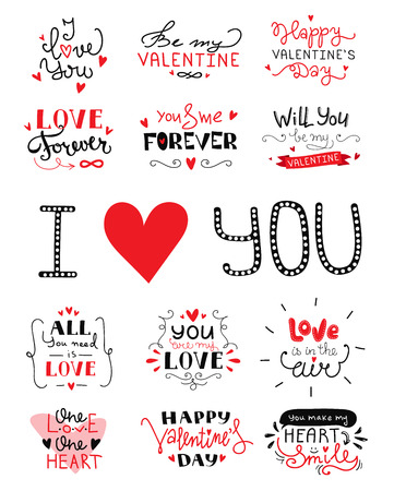 hand lettered: St. Valentines Day hand lettered love confession greeting labels. Vector love lettering collection