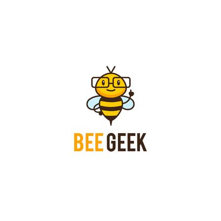 Geek Bienenmaskottchen Logo. Vector Cartoon Mentor Insekt Charakter in Gläser. Standard-Bild - 80871679