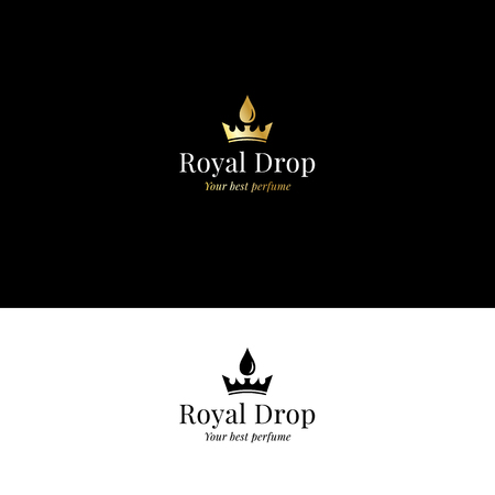 Aromatherapy and perfume logo with crown and drop in golden color. Vector symbol