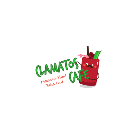 spicy mascot: Funny clamatos logo. Mexican tomatoes soup mascot for restaurant and take out cafe. Vector cartoon soup symbol