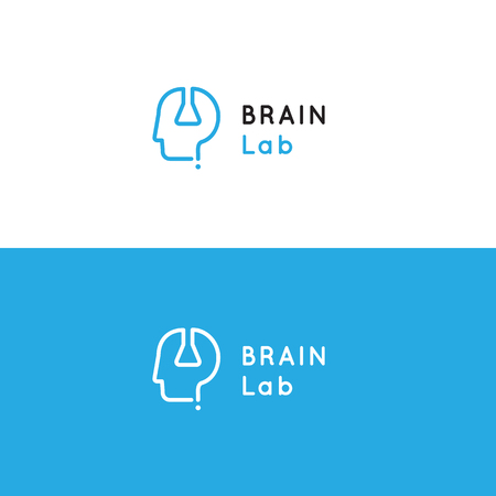 Logo for psychology medical health center with human head, test tube and question sign. Brain laboratory vector symbol Illustration