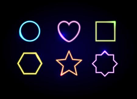 Marcos de diferentes formas de neón. Símbolos del círculo, del corazón, del cuadrado, del hexágono, de la estrella y del polígono que brillan intensamente.