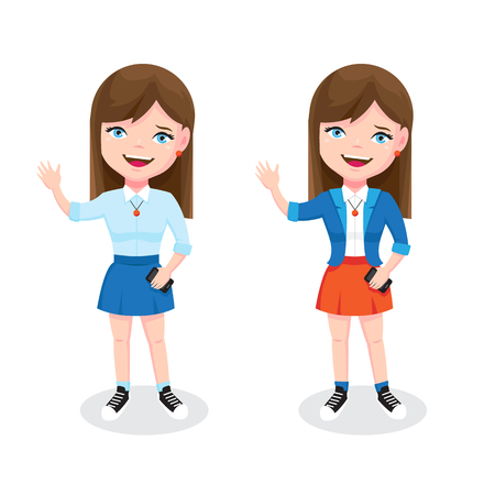 Teen girl with smartphone and welcome gesture. Cute girl character illustration Illustration