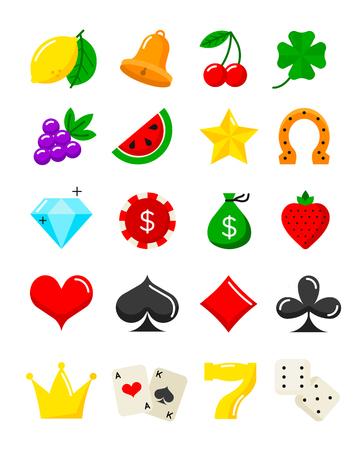 Heldere casino plat pictogrammen instellen. Vector gokautomaat cartoon symbolen. Stock Illustratie