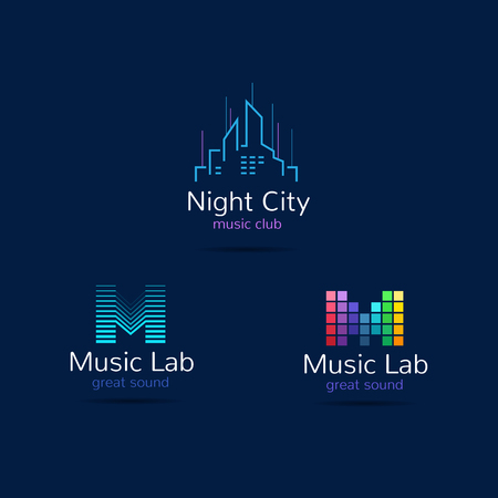Music club logo templates. Creative equalizer music studio brand signs and night city sign. Vector music production logotypes set