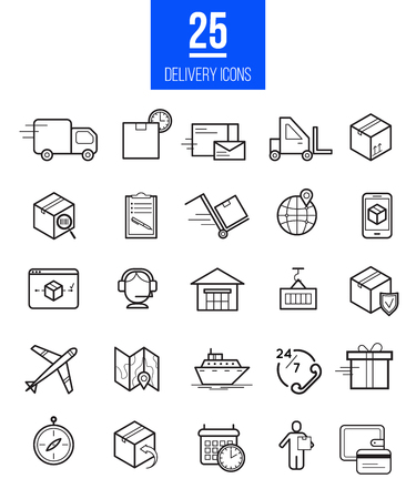 Delivery app modern linear icons set. Vector logistics line style symbols collection.  イラスト・ベクター素材