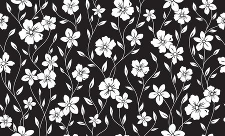 シンプルなシルエット古典的な花柄シームレス パターン。花飾りのベクトルの背景