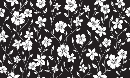 Simple silhouette classic floral seamless pattern. Flowers ornament vector background.