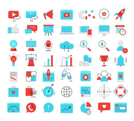 Social media marketing modern flat icons set. SMM bright vector symbols
