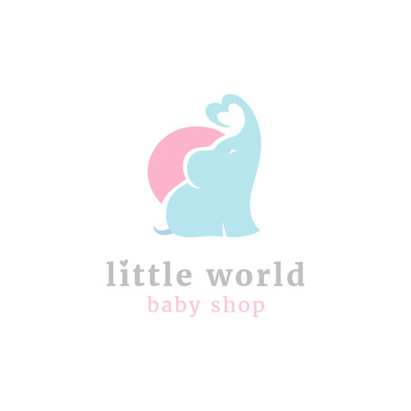 Cute little elephant logo. Kids toy shop and baby goods store mascot symbol