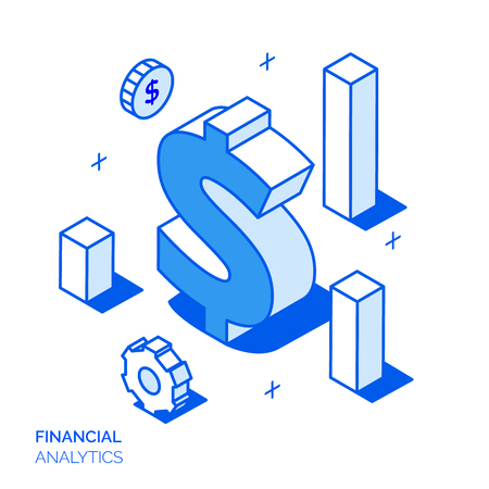 Isometric Financial Analysis And Growth Line Style Design Concept