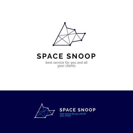 Dog head logo in minimalistic line style. Constellation vector company symbol