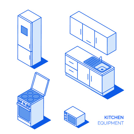 Isometric kitchen electronics and furniture vector icons set. Domestic objects line style collection. Illustration