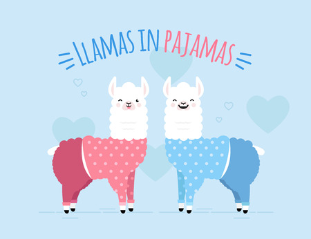 Cute doodle characters-2 happy smiling naughty llamas in pajamas on hearts sky blue background.Color adorable charming lama animals with text Llamas in Pajamas