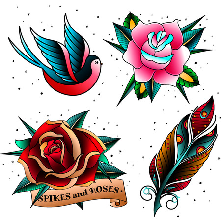 Colorful old school vintage doodle tattoo templates sketches set.Oldschool tattooings swallow,feather,rose and spikes isolated emblems symbols on white background