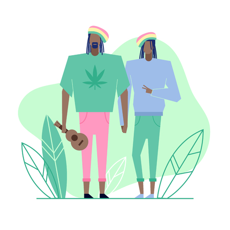Colorful flat characters,subculture music genre apparel style concept.Flat people,man and women in rasta reggae styles clothes outfit on green white background