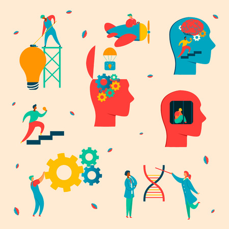 Colorful modern flat characters brain neurology concept.Flat style little people working-making Brain works,constructing dna,helps idea birth,spinning gears in human head