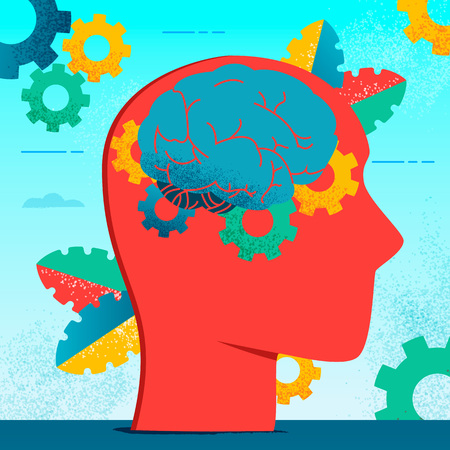 Colorful medical modern flat brain neurology concept.Flat style Cerebrum,Cerebellum,Brain work gears in human head silhouette on sky blue cogs and leaves background