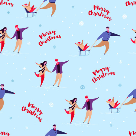 Modern cartoon flat characters family winter holidays,Merry christmas happy new year concept seamless pattern.Flat small people happily celebrating holiday,ice skating,sledding Stock Photo