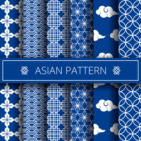 Oriental asian traditional korean japanese chinese patterns decoration elements set,web online concept page background,asians symbols.Koreans tradition ornate geometric forms,shapes,wrapping paper Ilustração