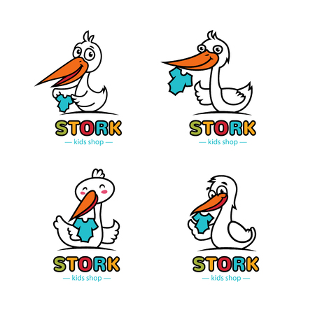 Outlined color logo icon set with happy cute stork and babys jacket.Adorable charming colorful logotypes,labels,emblems for kid baby store brand