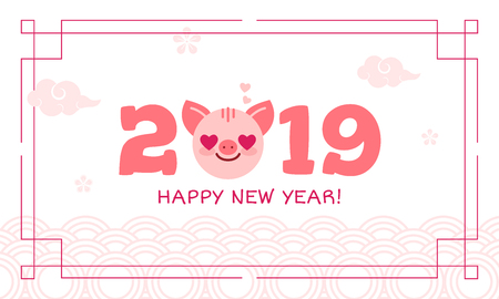 2019 Happy New Year zodiac pig sign character,asian traditional greeting card wish,Oriental asians korean japanese chinese style pattern decoration elements.Postcard ornate circles,flowers,clouds