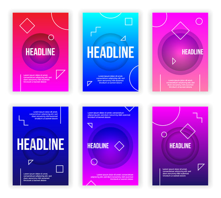 Trendy flyer modern poster concept,vector set.Abstract layout design for cover page,brochure,banner,commercial,presentation,promotion purpose,grunge texture background and geometrical shapes,elements