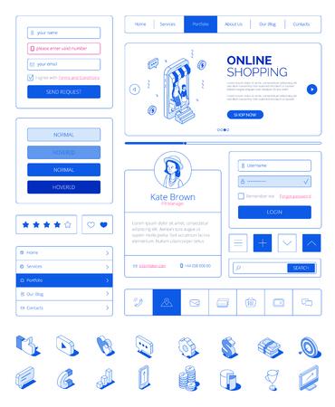 Interface utilisateur prête à l'emploi, kit de mise en page de l'interface utilisateur avec des personnages isométriques modernes. Site Web réactif, page de destination, concept d'achat en ligne sur le Web mobile. Icônes isométriques, boutons de site, champs, éléments