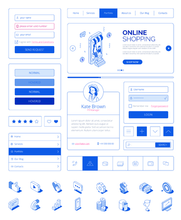 Ready to use user interface,UI layout kit with modern isometric people characters.Responsive website,landing page,mobile web online shopping concept.Isometrics icons,site buttons,fields,elements