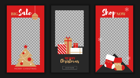 Modern flat Merry Christmas New Year sales, social media stories template,web online shopping concept. NewYear gift boxes,new year tree balls, xmas socks sale app screens, ready to use button Shop Now
