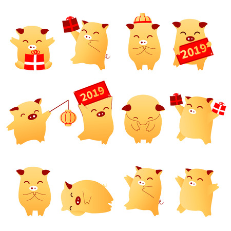 2019 Year of the Pig flat cartoon characters traditional oriental chinese zodiac pigs set.Chinese lanterns,Funny happy asian mascot character piglets with gift boxes,banners,vector illustration Illustration