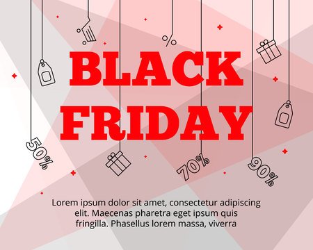 Modern flat Black Friday big sales,landing page template,web online shopping app screen concept.Flat merchandise good buys,ready to use line icons-gift box,label,discount percents,shopping cart