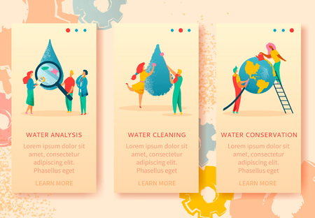 3 vertical web banners of colorful modern flat characters for water saving,analysis,cleaning,conservation,Earth save ecology concept.Small people watering planet,washing,research waterdrops