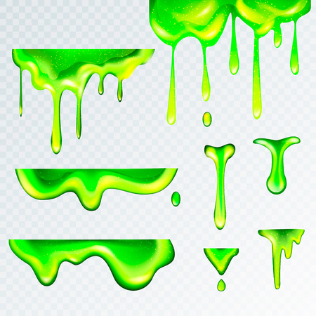 3d realistic green slime goo, vector illustration.Puddles,drops and drips of liquid swill in realism style