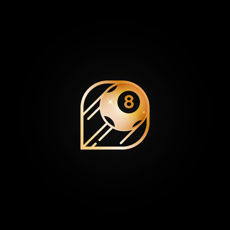 Bright shiny golden casino logo icon with  eight ball. Metal color logotype, label, emblem for gambling establishment, billiards, lottery, lucky place brand  イラスト・ベクター素材