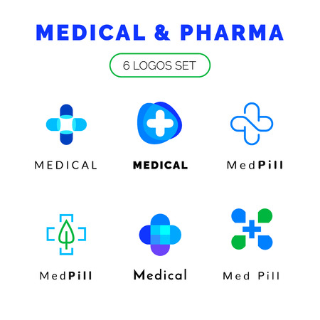 Flat line medicine icons blue and green  emblem logos set, web online concept.Logo of pills, medical cross, pharmaceutical icons
