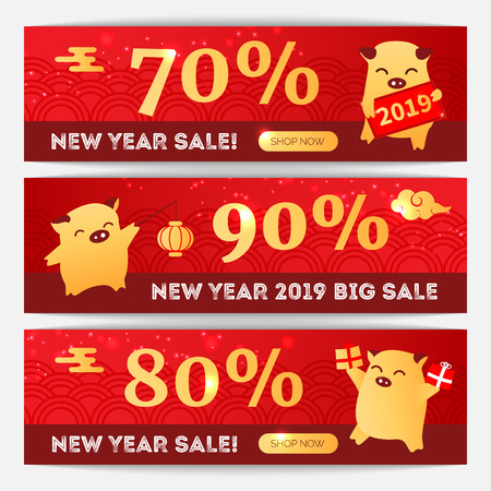 2019 Year of the Pig chinese zodiac sign flat cartoon characters on sale banners, oriental asians chinese style web online background elements, discount flyer Illustration