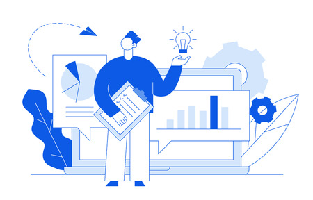 Vector flat line style business and finance design concept with big modern people, man holding idea light bulb. Trendy brainstorming illustration with cogs, graphs, diagrams, paper plane, leaves.