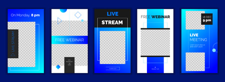 Modern gradient social media stories template, for blog and business, web online streaming banner concept. Minimalistic geometric trendy webinar app screens, ready to use button Register