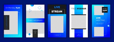 Moderne Verlaufsvorlage für Social-Media-Geschichten, für Blog und Geschäft, Web-Online-Streaming-Banner-Konzept Minimalistische geometrische, trendige Webinar-App-Bildschirme, gebrauchsfertige Schaltfläche Registrieren