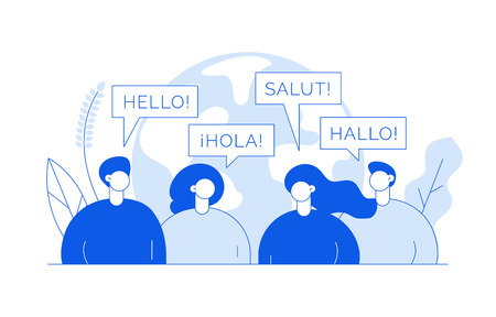 Vector flat line translation concept of  big modern people,speaking different languages.Trendy language courses, translation agency illustration with earth globe, word hello in Spanish,French,German. Foto de archivo - 112859868