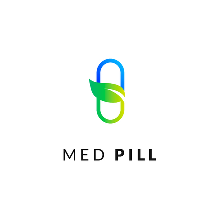 Flat line medicine icon  blue and green  emblem logo, web online concept. Sign of pill and leaf, pharmaceutical icon