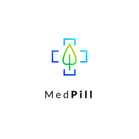 Flat medicine icon blue and green gradient  emblem logo, web online concept. Sign of leaf, medical cross, pharmaceutical icon 일러스트