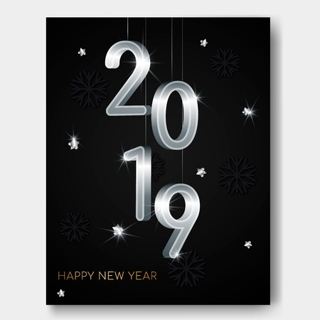 New Year night banner flyer with silver 3D numbers 2019,glowing stars,light flashes on snowflakes christmas background.Night club party flyer poster,greeting card,web online concept on black backdrop