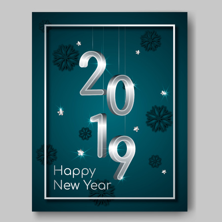 New Year night banner flyer with silver 3D numbers 2019,glowing stars,light flashes on Xmas snowflakes 3d background.Night club party flyer poster,greeting card,web online concept on dark backdrop