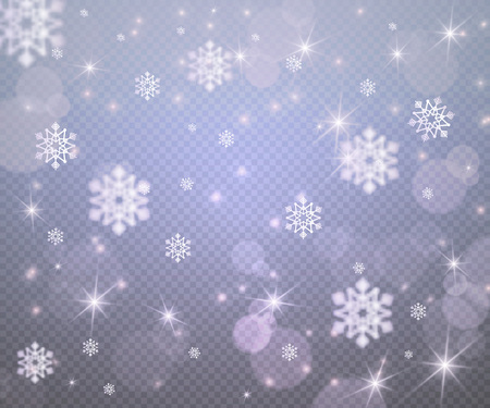 Winter New Year background with Christmas snowflakes,glowing stars,light flashes,highlight circles on transparent backdrop,web online concept.Flyer banner concept,night club party poster