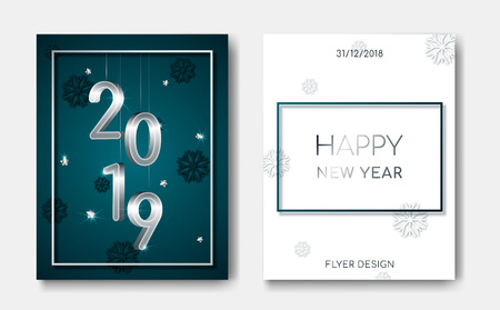 Set of 2 Happy New Year night banner flyers with silver 3D numbers 2019,glowing stars,light flashes on Xmas snowflakes 3d background.Night club party flyer poster,greeting card,web online concept  イラスト・ベクター素材
