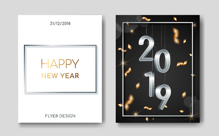 Set of 2 Happy New Year night banner flyers with silver 3D numbers 2019,lens flares,confetti,light flashes,highlight circles.Night club party flyer poster,greeting card,web online concepts