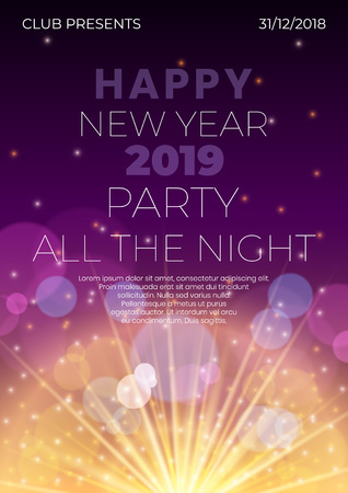Happy 2019 New Year night banner flyer with firework flare,glowing stars,light flashes,highlight circles background.Night club party flyer poster concept,web online concept on deep purple backdrop  イラスト・ベクター素材